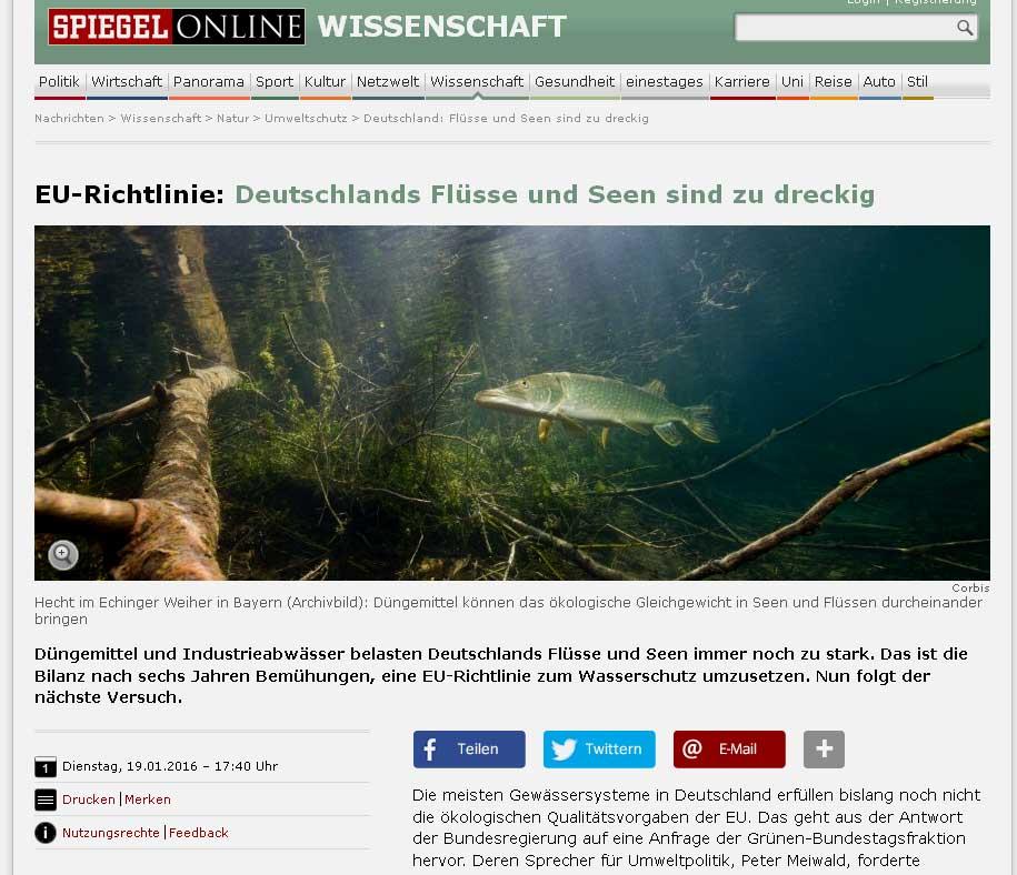 Tysklands vandmilj overholder ikke eu normerne for Artikel spiegel